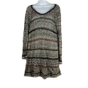 Free People Split Back Striped Tunic Frayed top